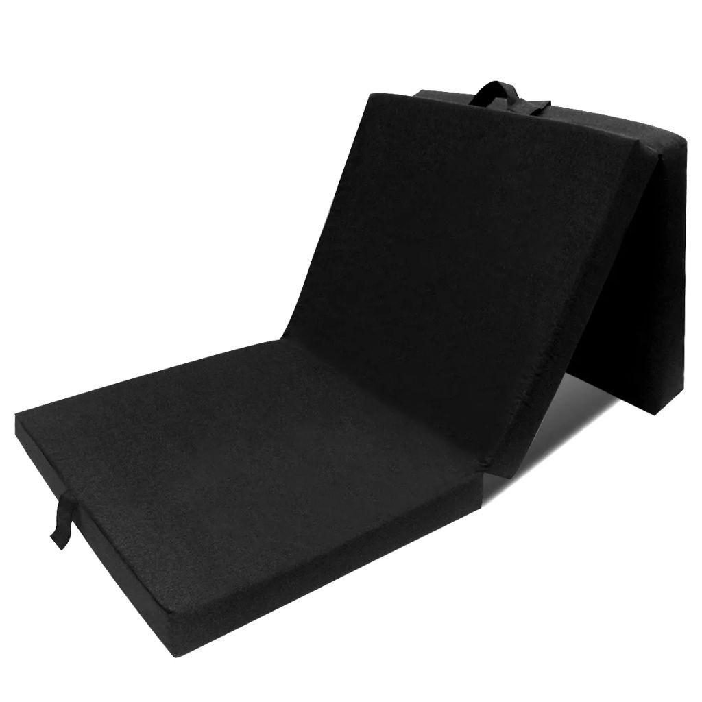 vidaXL Skladací molitanový matrac 190 x 70 x 9 cm, čierny