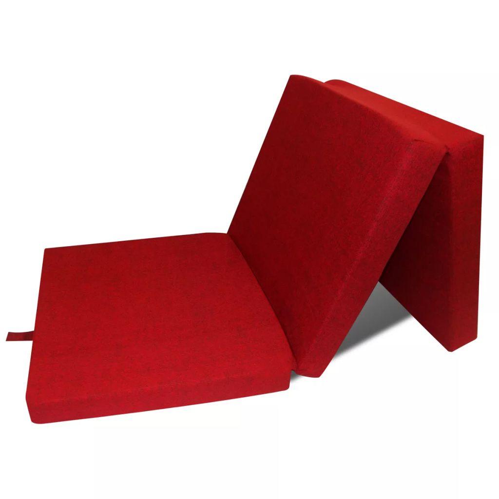 vidaXL Skladací molitanový matrac 190 x 70 x 9 cm, červený