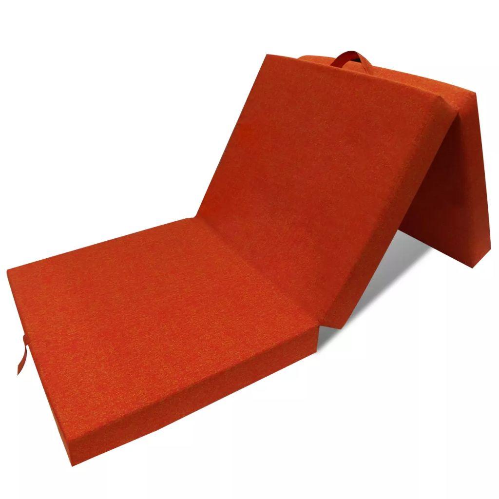 vidaXL Skladací molitanový matrac 190 x 70 x 9 cm, oranžový