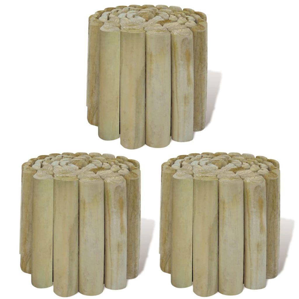 vidaXL Kotúčová palisáda z guľatiny na ohraničenie trávnika 3 ks, 250x20 cm