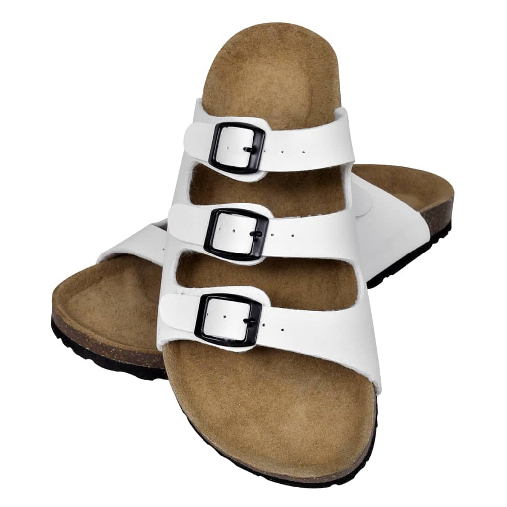 Biele unisex sandále z bio korku s 3 remienkami na spony d660f42f493