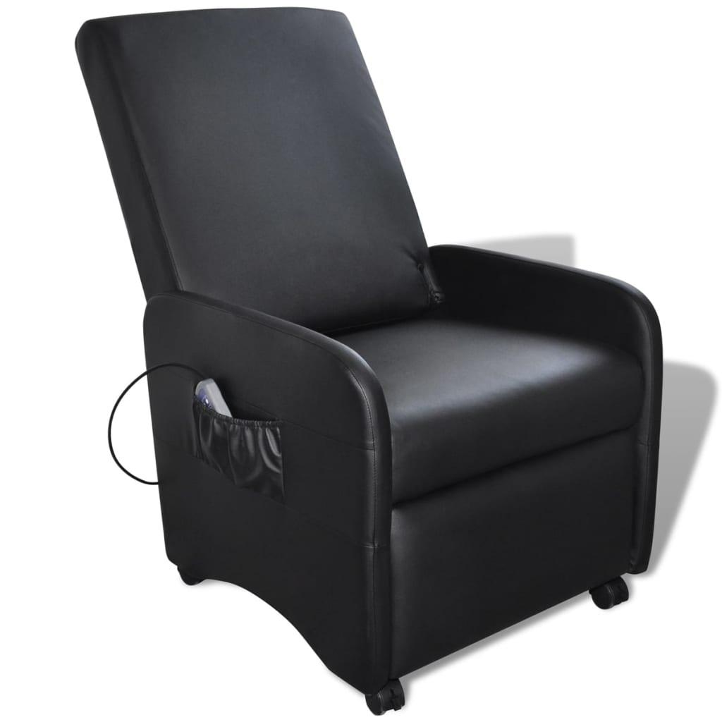 vidaXL Elektrické masážne nastaviteľné kreslo z umelej kože, čierne