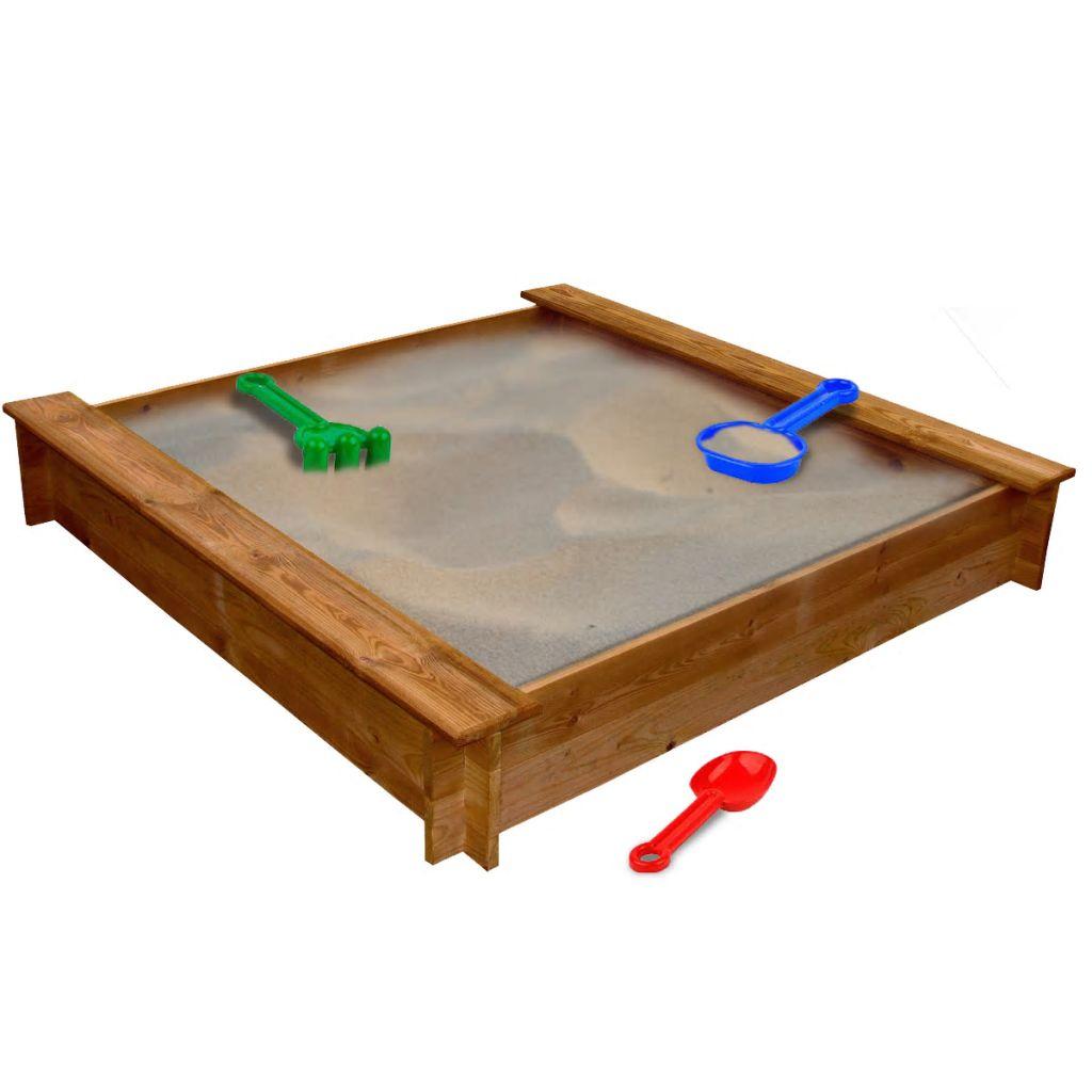 Drevené pieskovisko v tvare štvorca