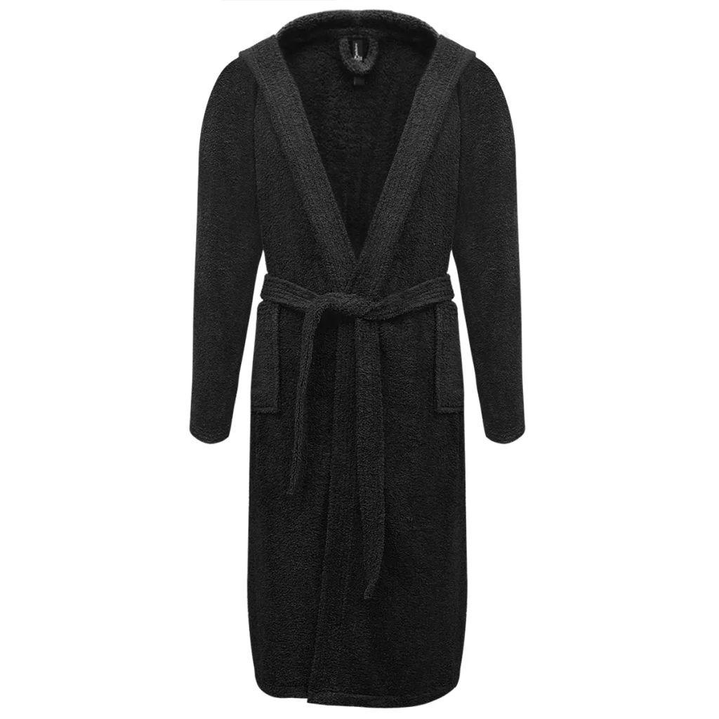 Froté unisex župan, 500 g/m², 100% bavlna, čierny, XL