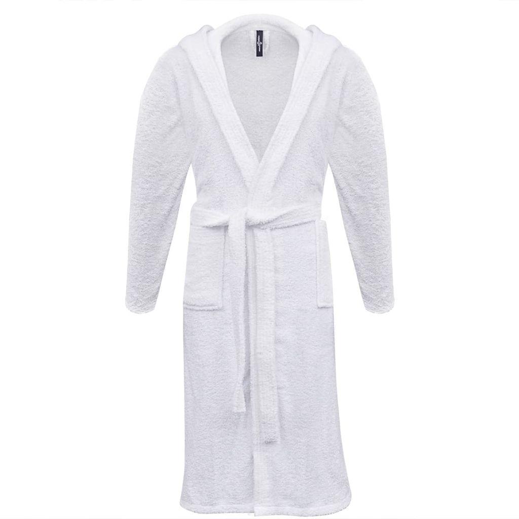 Froté unisex župan, 500 g/m², 100% bavlna, biely, S