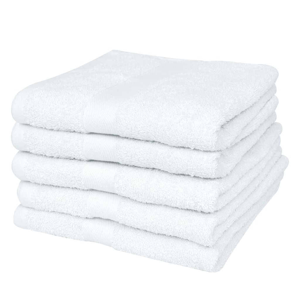 vidaXL Domáce uteráky do sauny sada 5ks bavlna 500g/m² 80x200cm biele