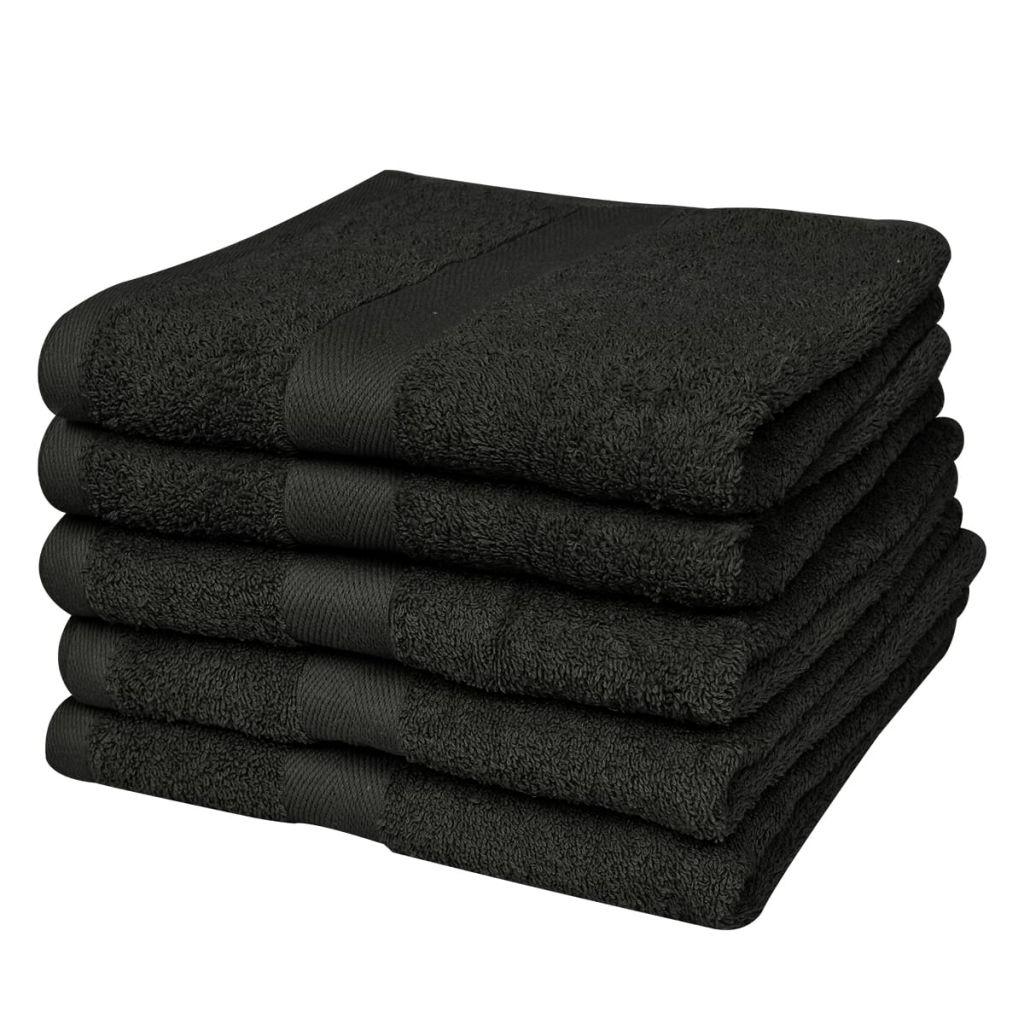 vidaXL Domáce osušky sada 5ks bavlna 500g/m² 100x150cm čierne
