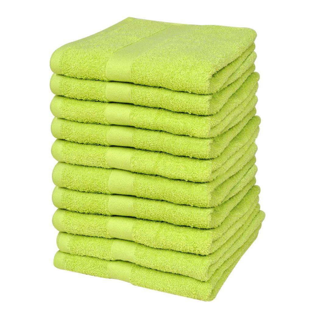 vidaXL Uteráky pre hostí sada 10ks bavlna 500 g/m² 30x50cm zelené