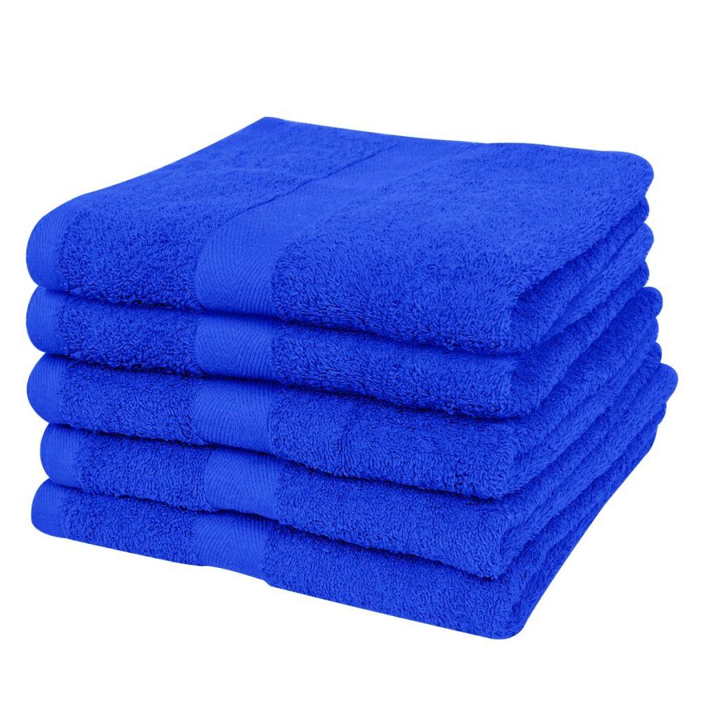 vidaXL Uteráky na ruky sada 5ks 100% bavlna 500 g/m² 50x100cm modré