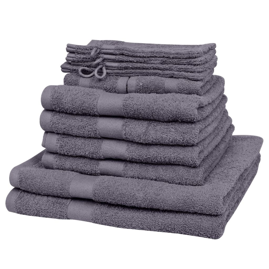 vidaXL Domáce uteráky sada 12 kusov bavlna 500g/m² antracitové