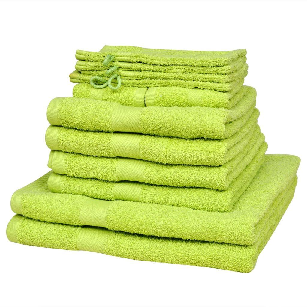 vidaXL Domáce uteráky sada 12 kusov bavlna 500g/m² jablkovo zelené