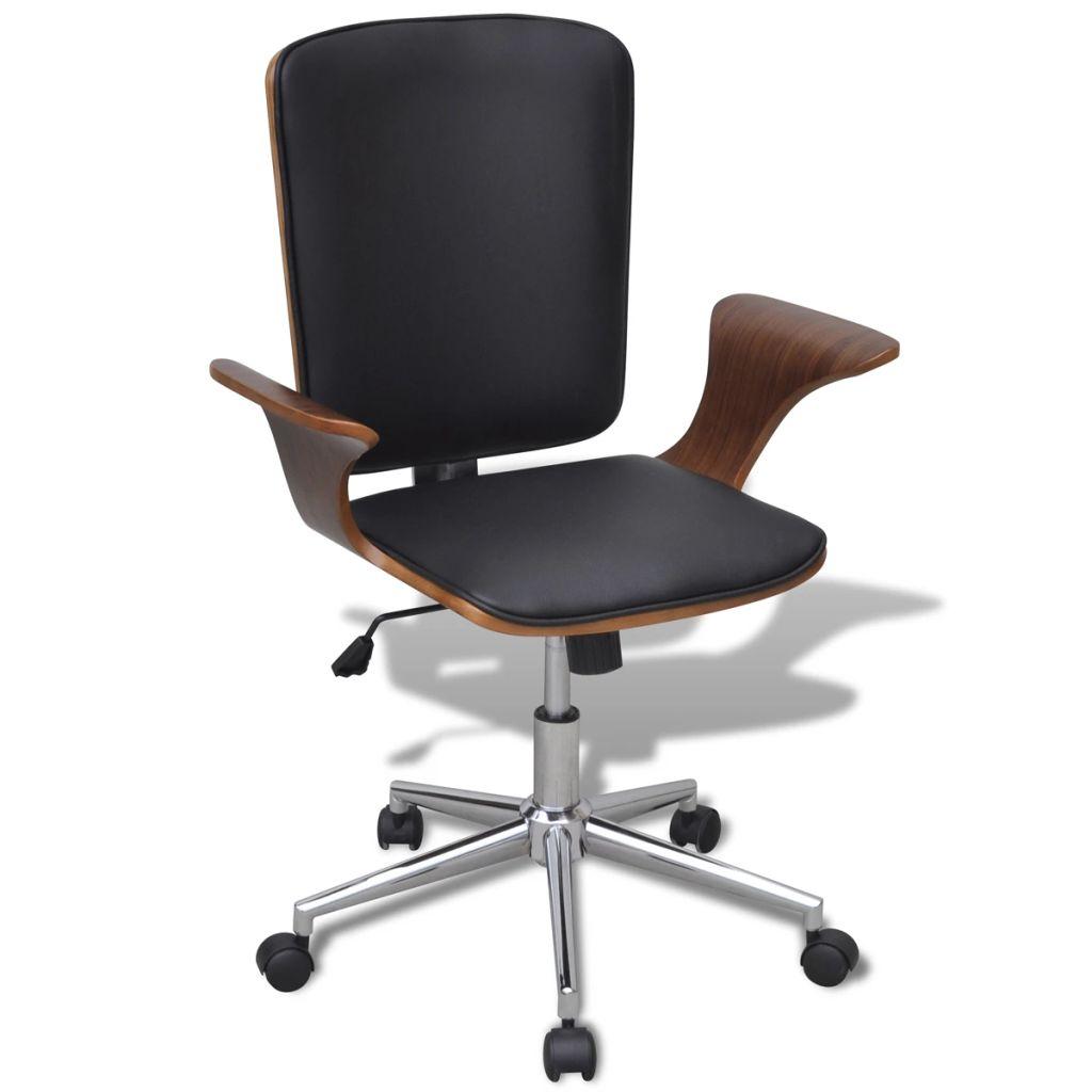 Otočné kancelárske kreslo, ohýbané drevo, umelá koža