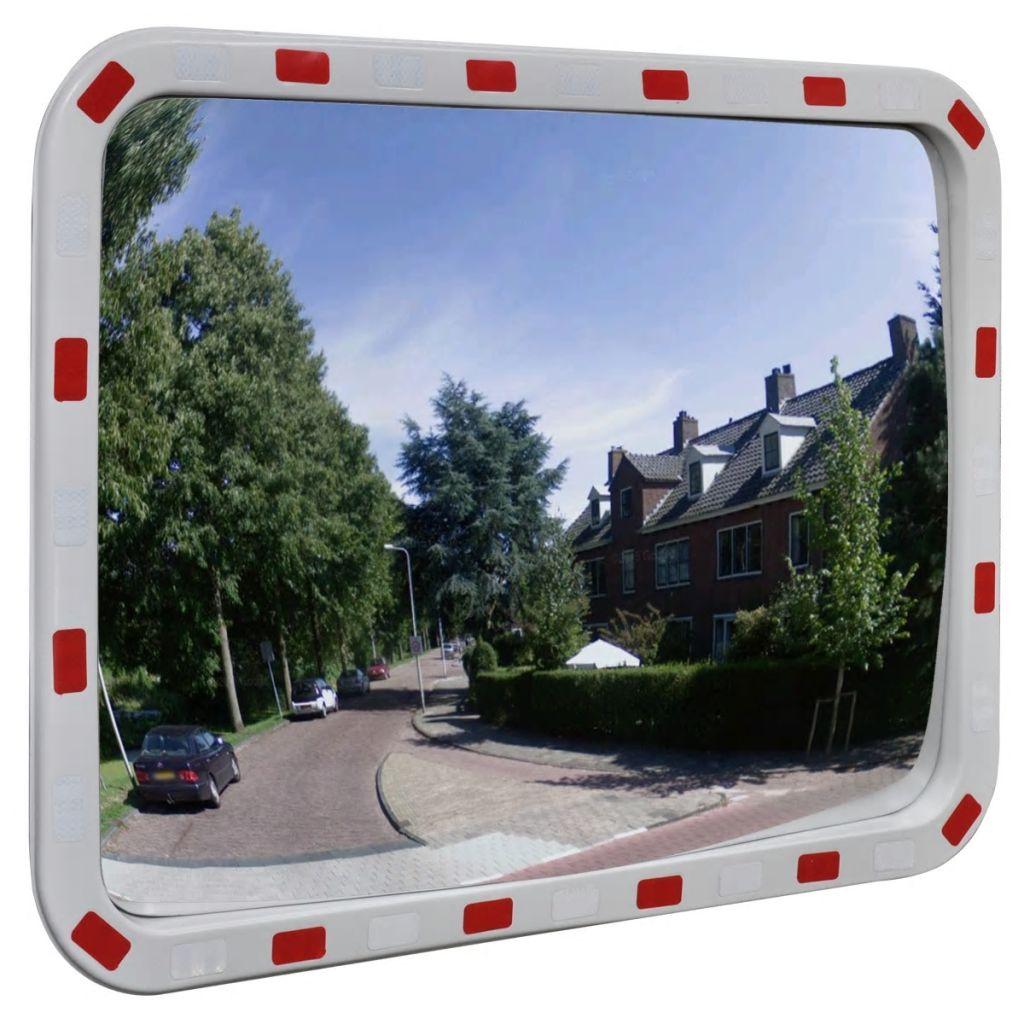Obdĺžnikové konvexné dopravné zrkadlo s odrazkami 60 x 80 cm