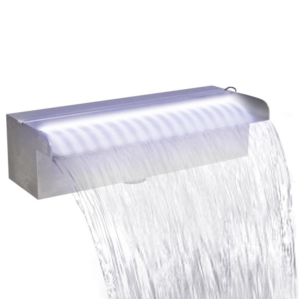 Obdĺžniková nerezová bazénová fontána/vodopád s LED svetlami 30 cm