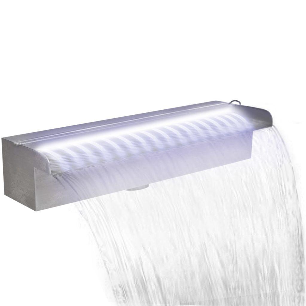 Obdĺžniková nerezová bazénová fontána/vodopád s LED svetlami 45 cm