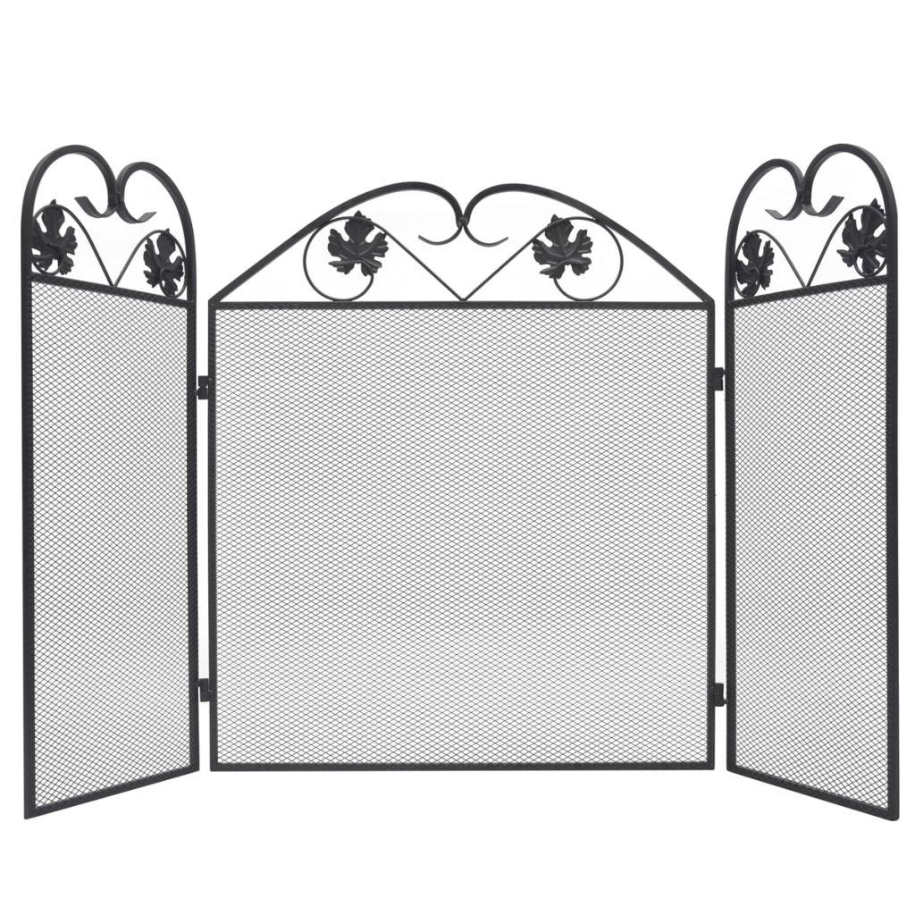 vidaXL Krbová clona s 3 panelmi, železo, čierna