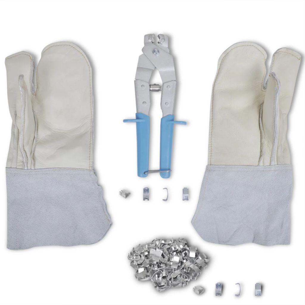 Sada na pokladanie ostnatého drôtu - rukavice, aplikátor a 200 ostňov