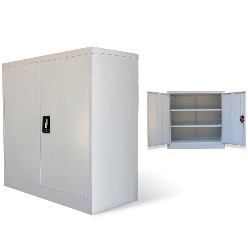vidaXL Kancelárska skriňa s 2 dverami 90 cm, sivá, kovová