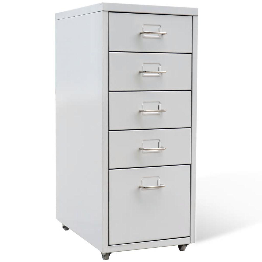 vidaXL Kartotéka s 5 zásuvkami, sivá, kovová