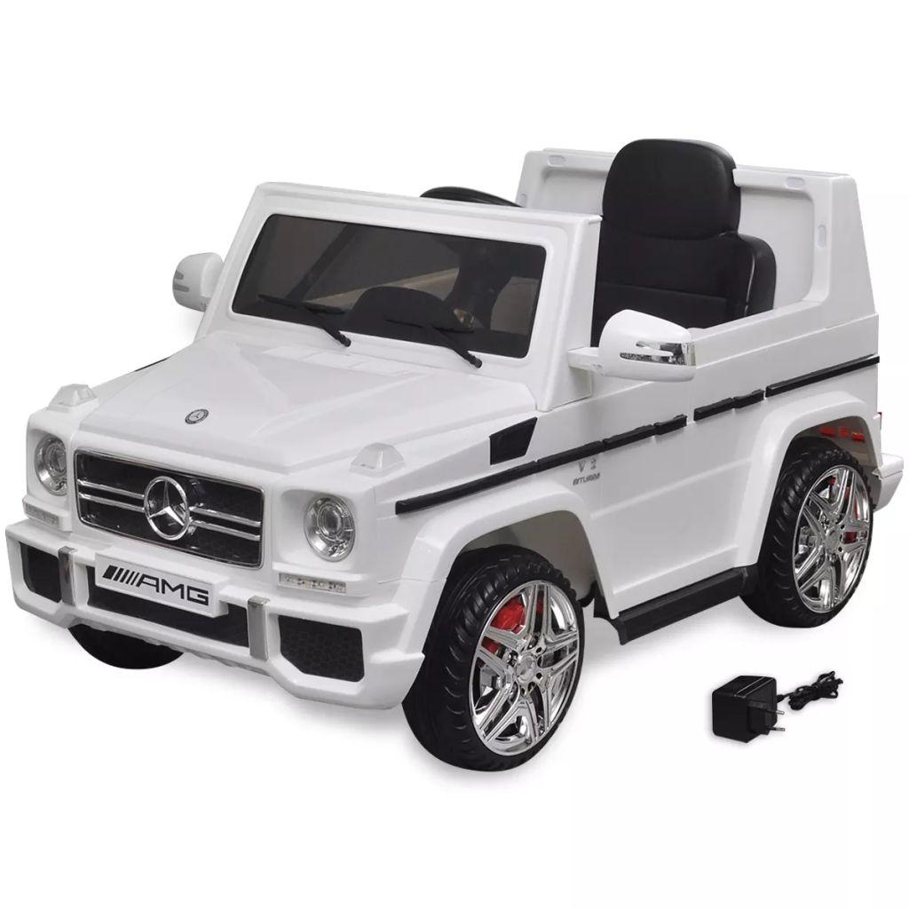 Detské elektrické auto SUV s 2 motormi, biele, Mercedes Benz G65