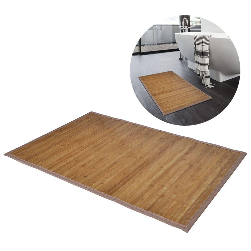 Hnedá kúpeľňová predložka z bambusu 60 x 90 cm