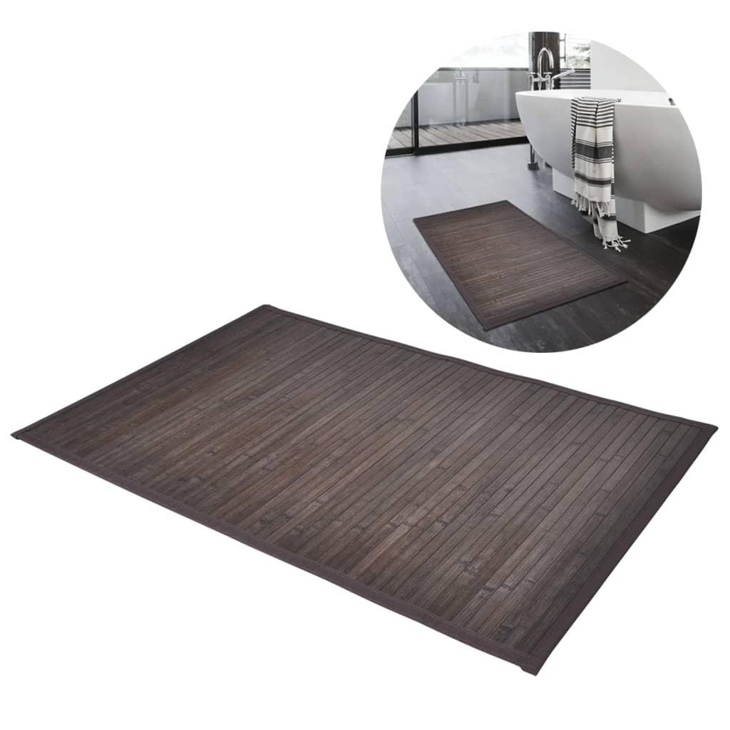 Bambusová podložka do kúpeľne, 2 ks, 40 x 50 cm, tmavohnedá
