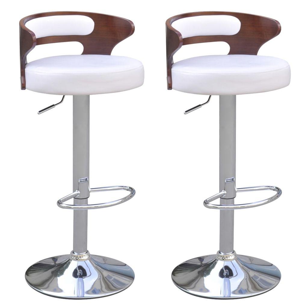 e75a416c57fc5 vidaXL Barové stoličky z ohýbaného dreva, poťah z umelej kože, 2 ks
