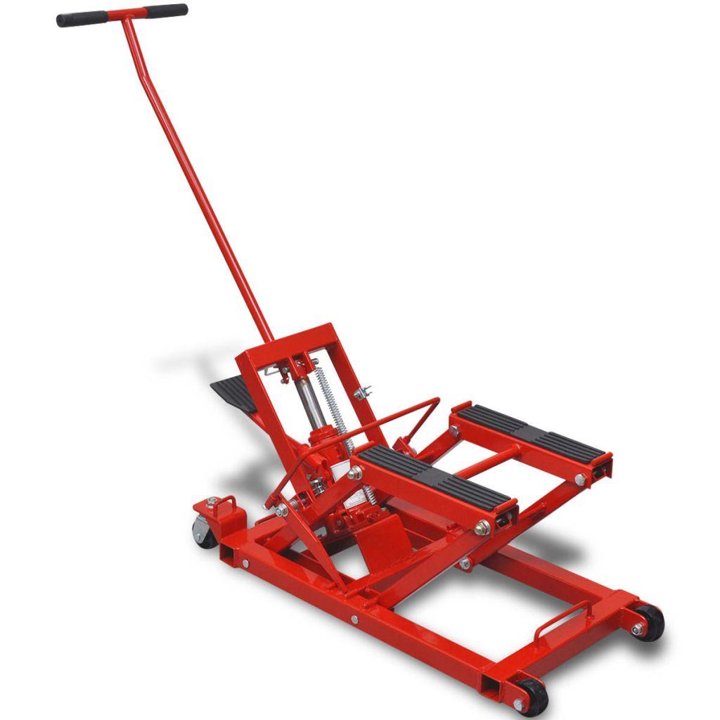 Červený hydraulický zdvihák na motocykle/ATV štvorkolky 680 kg