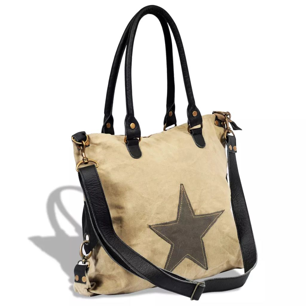 Plátená kožená taška s hviezdou béžová