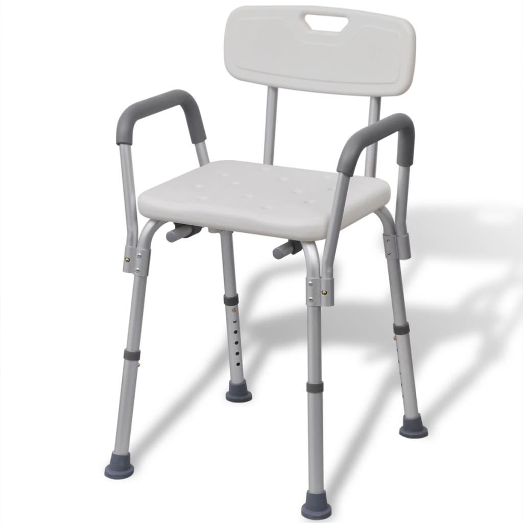 Biela hliníková stolička do sprchy vidaXL