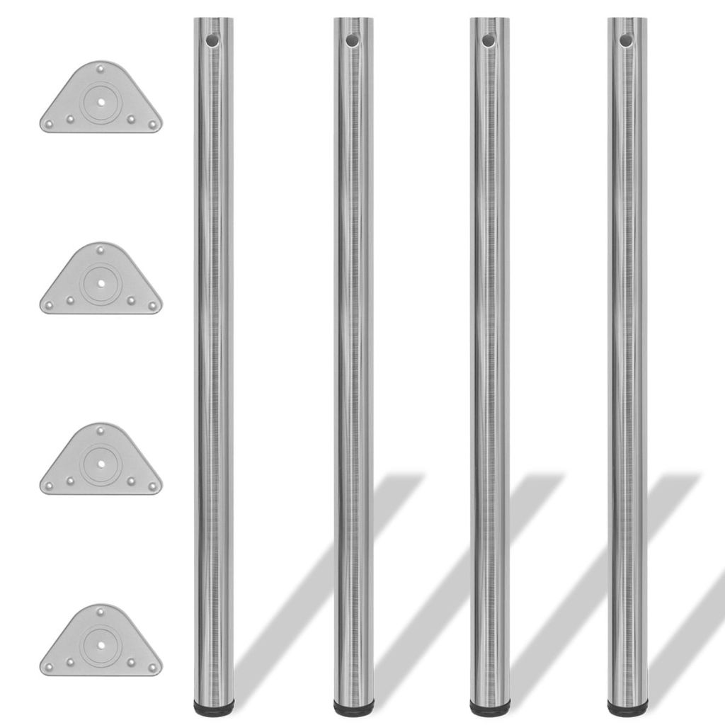 Výškovo nastaviteľné stolové nohy, 4ks, leštený nikel, 1100 mm