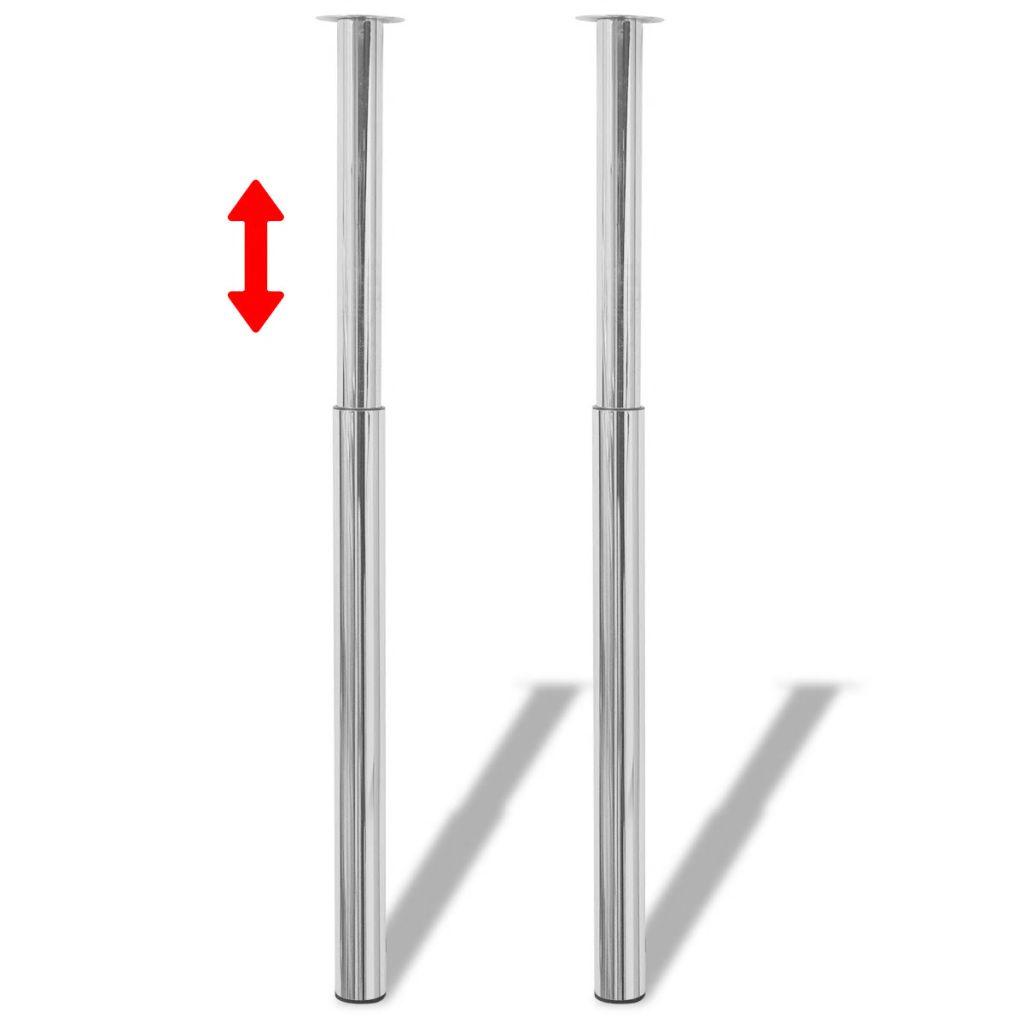Teleskopické stolové nohy, pochrómované, 710 mm-1100 mm 2 ks