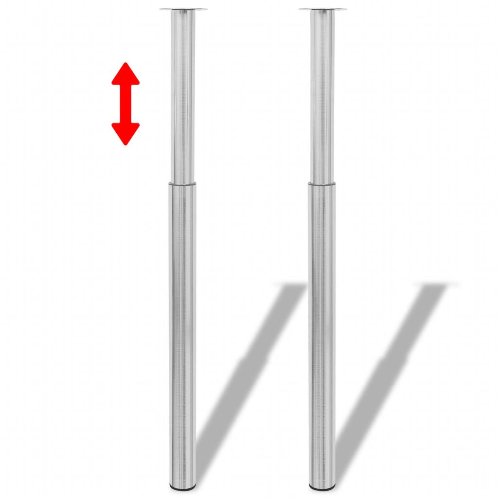 Teleskopické stolové nohy, brúsený nikel, 710 mm-1100 mm 2 ks