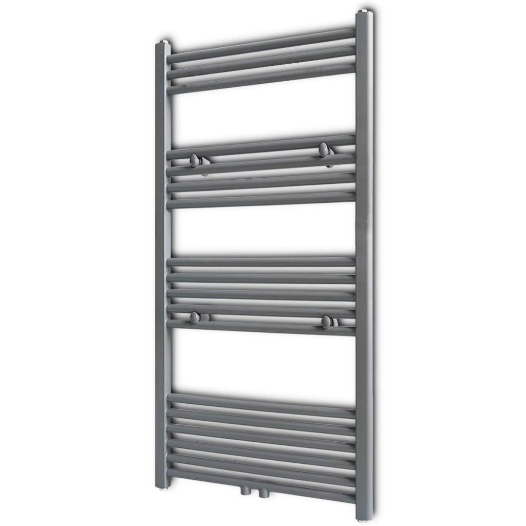 Šedý rebríkový radiátor na centrálne vykurovanie, rovný 600 x 1160 mm