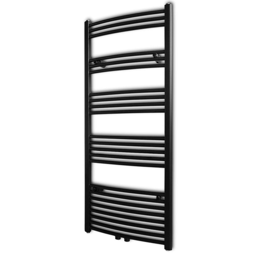 Čierny rebríkový radiátor na centrálne vykurovanie, zaoblený 600 x 1424 mm