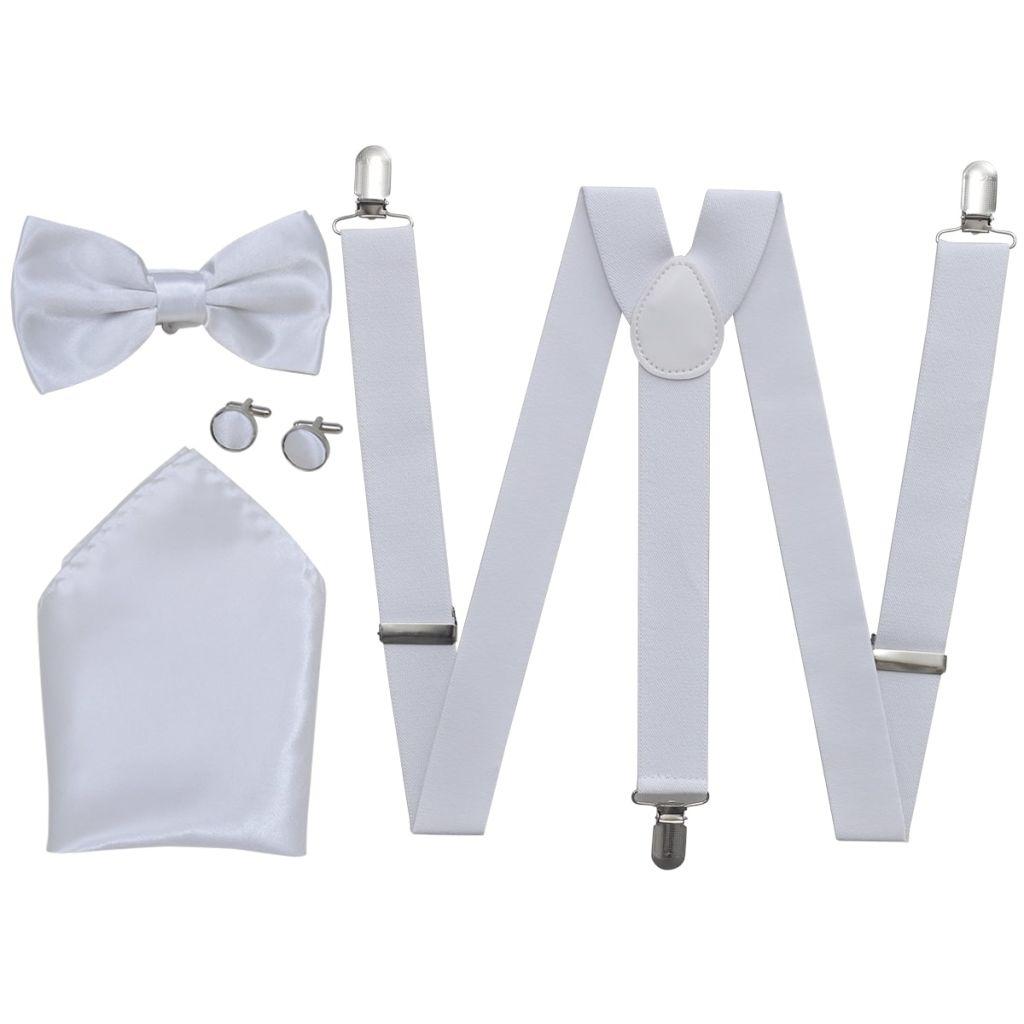 Sada pánskych doplnkov do obleku/smokingu, traky & motýlik, biela
