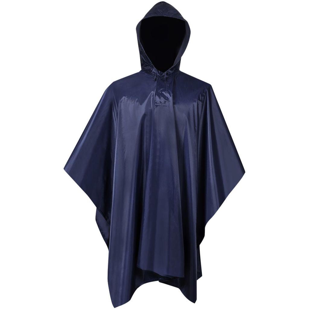 Nepremokavé pončo do dažďa na kempovanie/turistiku tmavomodré
