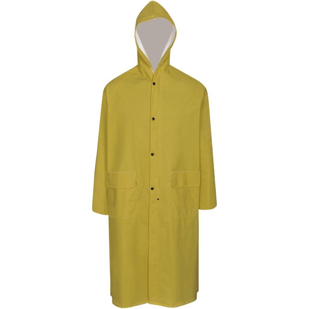 Dlhý nepremokavý pršiplášť s kapucňou, žltý, M