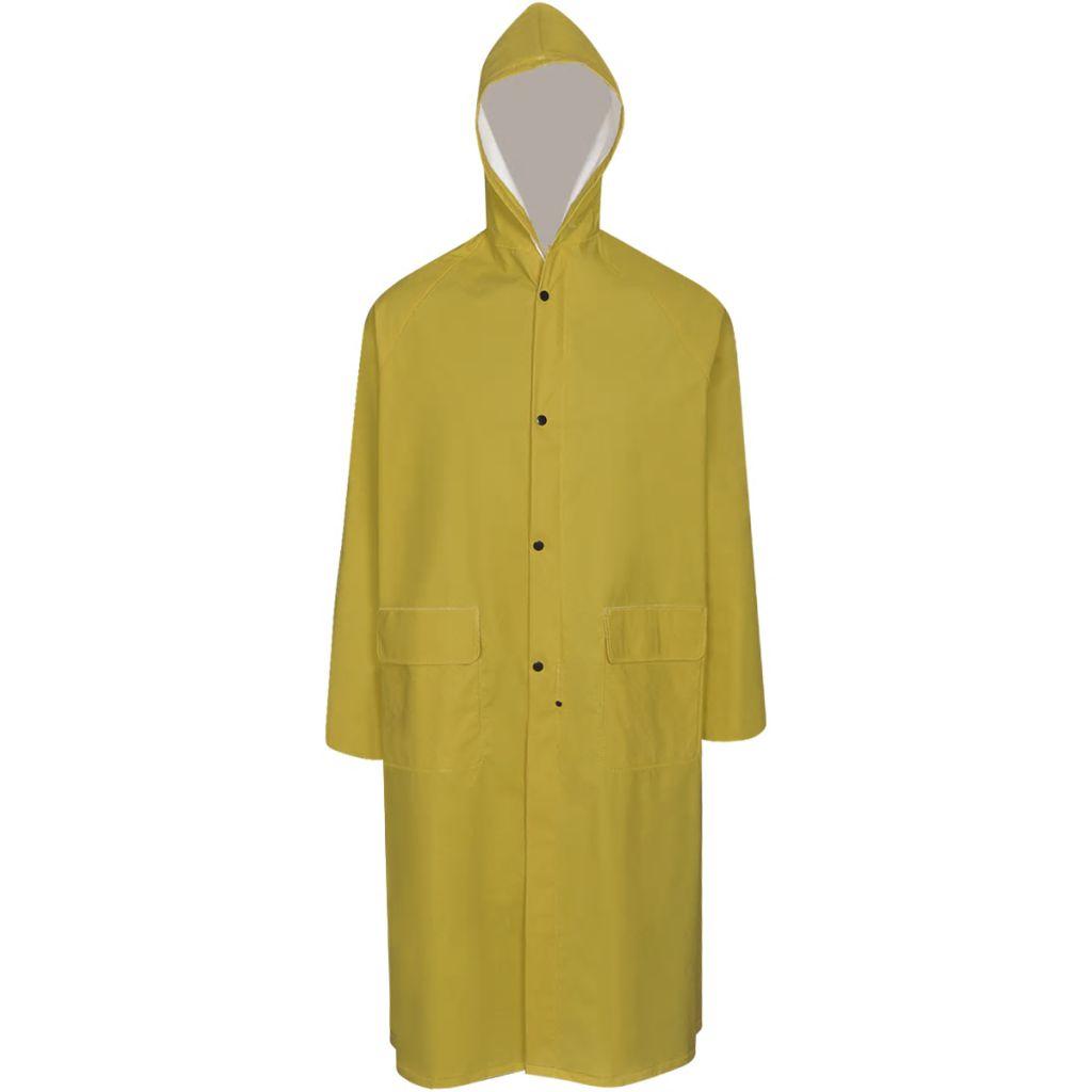 Dlhý nepremokavý pršiplášť s kapucňou, žltý, L