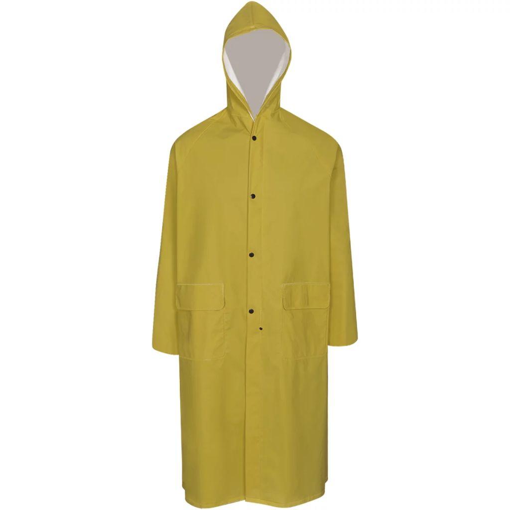 Dlhý nepremokavý pršiplášť s kapucňou, žltý, XL