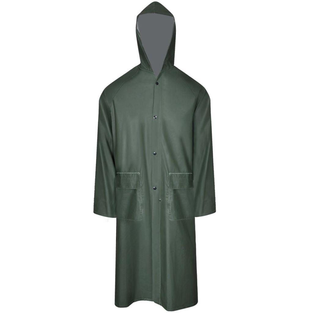 Dlhý nepremokavý pršiplášť s kapucňou, zelený, M