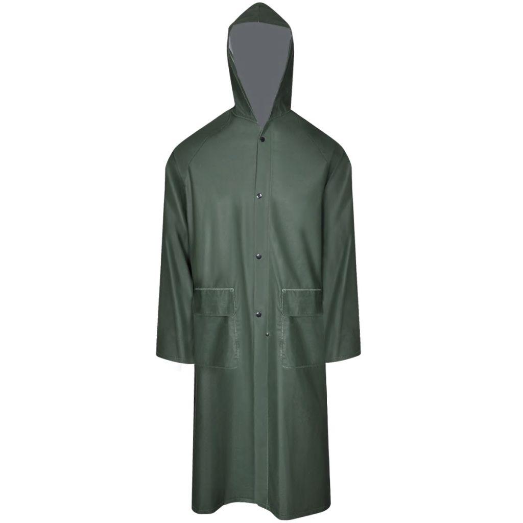 Dlhý nepremokavý pršiplášť s kapucňou, zelený, XL