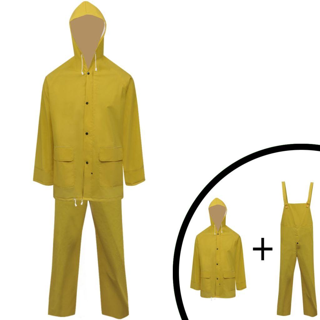 Dlhá nepremokavá súprava s kapucňou, 2 diely, žltá, M