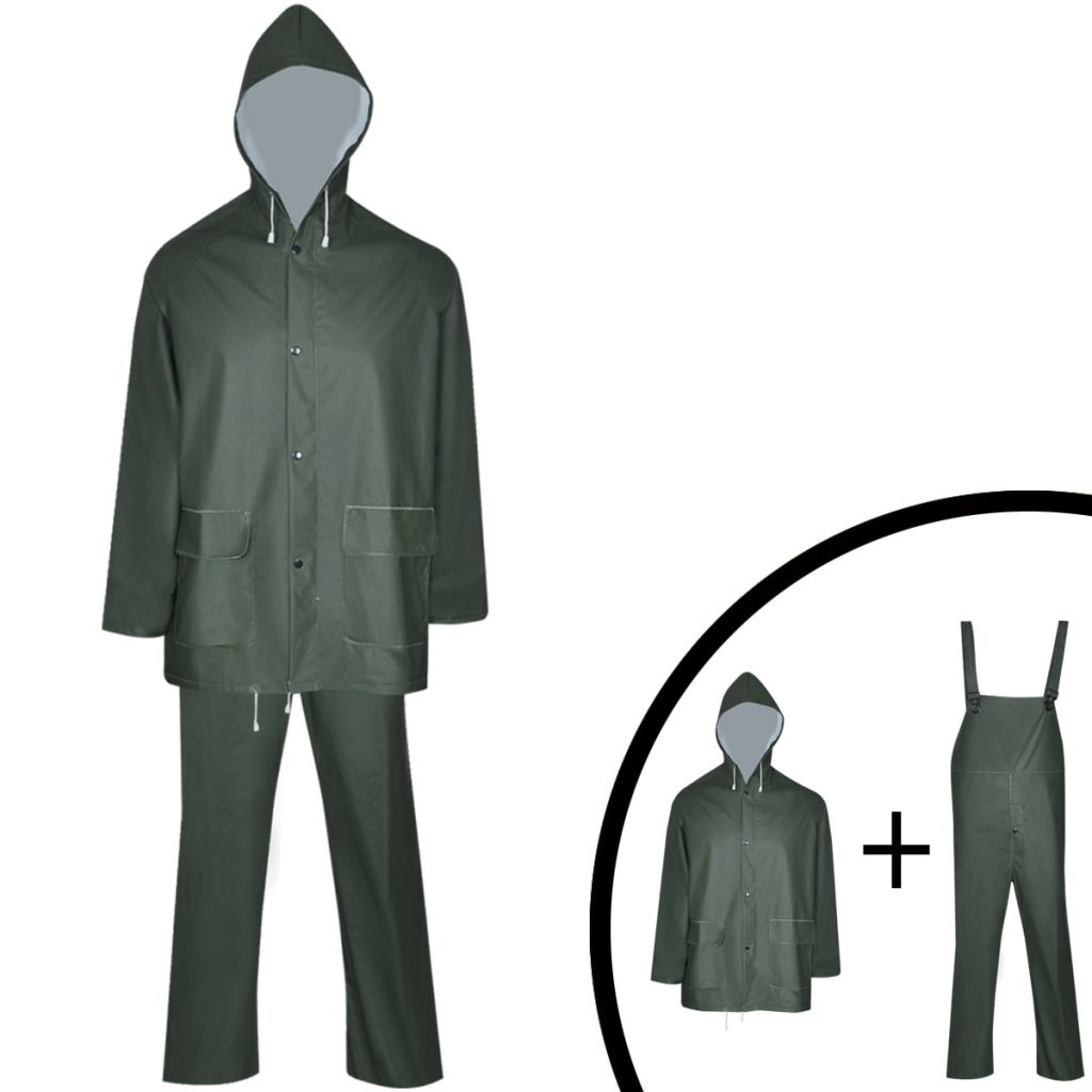 Dlhá nepremokavá súprava s kapucňou, 2 diely, zelená, L