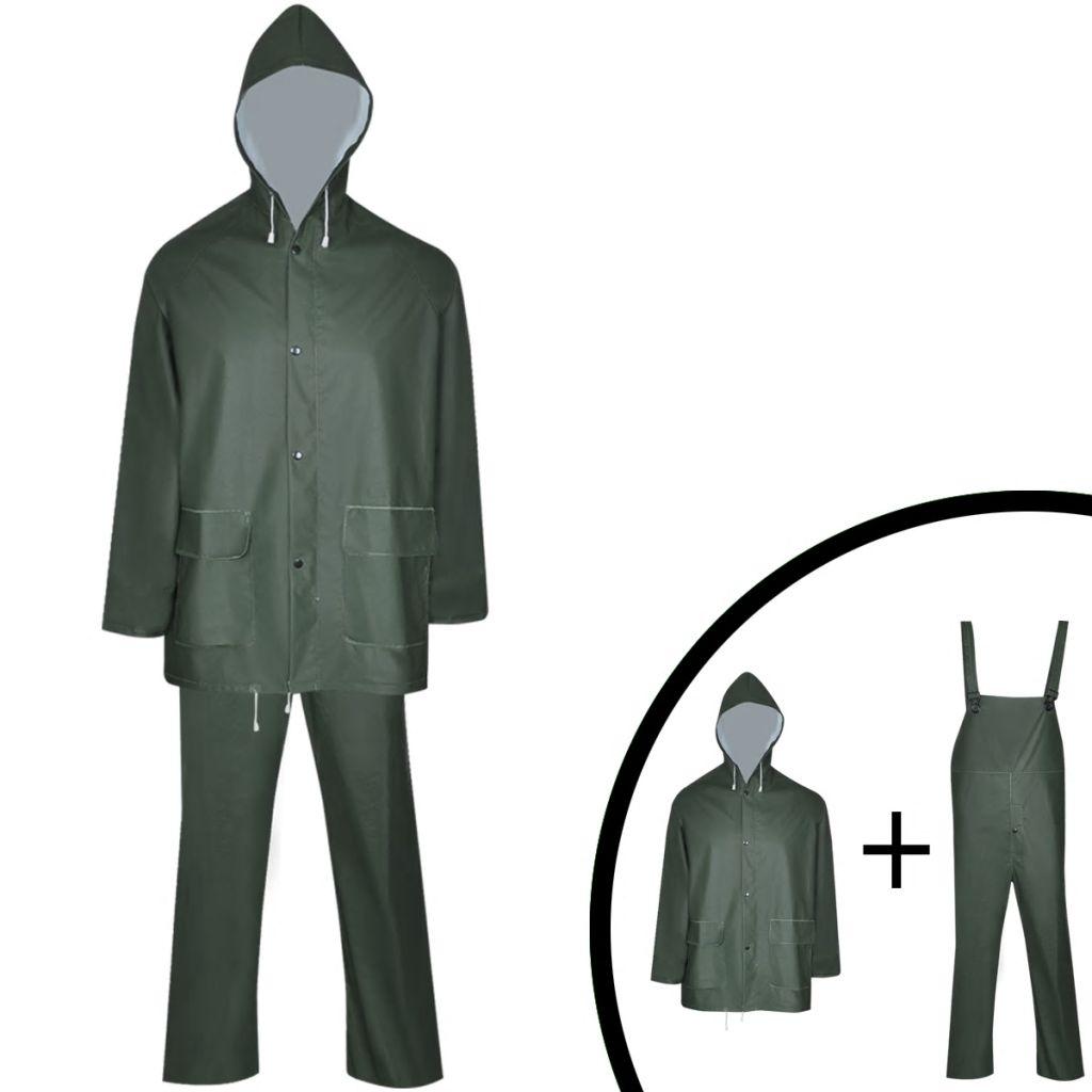 Dlhá nepremokavá súprava s kapucňou, 2 diely, zelená, XL