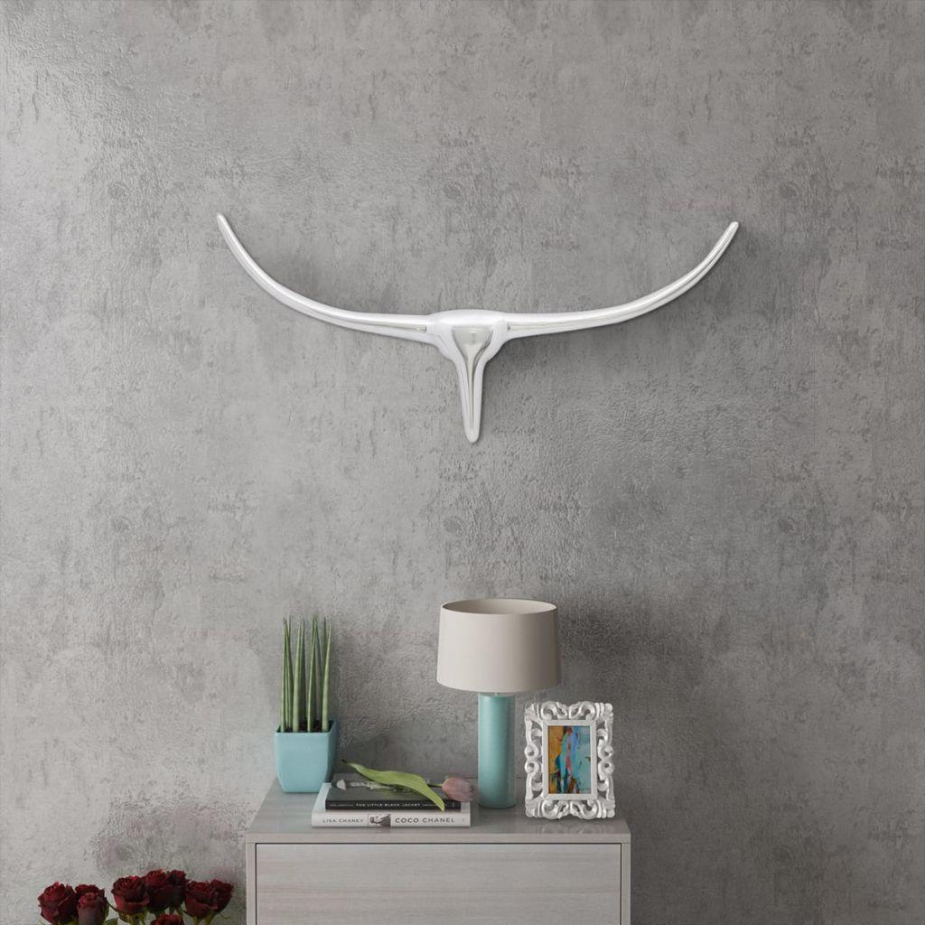Nástenná hliníková dekorácia hlavy byvola, strieborná, 72 cm