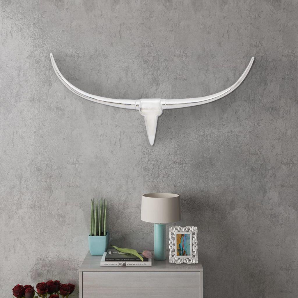 Nástenná hliníková dekorácia hlavy byvola, strieborná, 96 cm