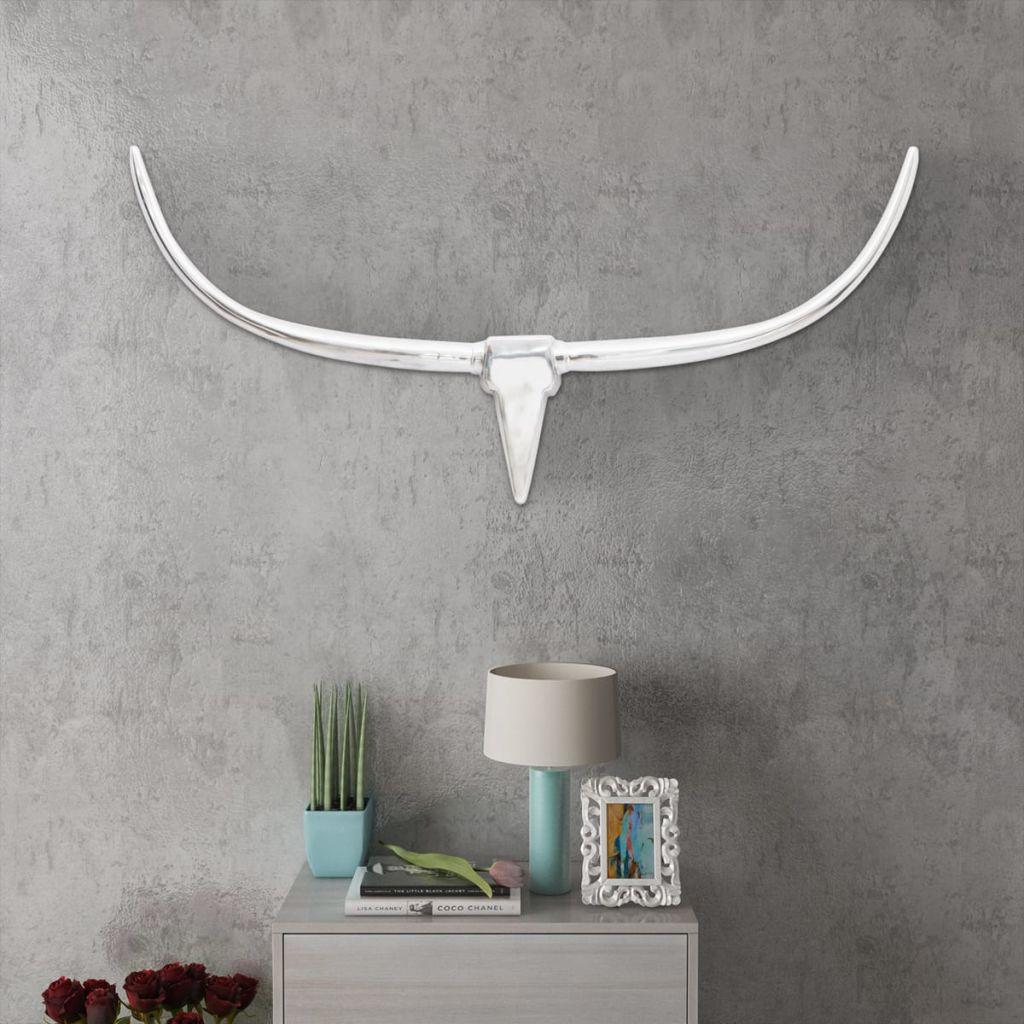 Nástenná hliníková dekorácia hlavy byvola, strieborná, 125 cm