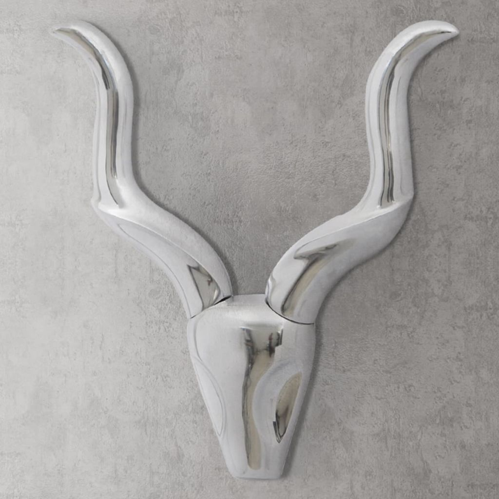 Nástenná hliníková dekorácia hlavy gazely, strieborná, 50 cm