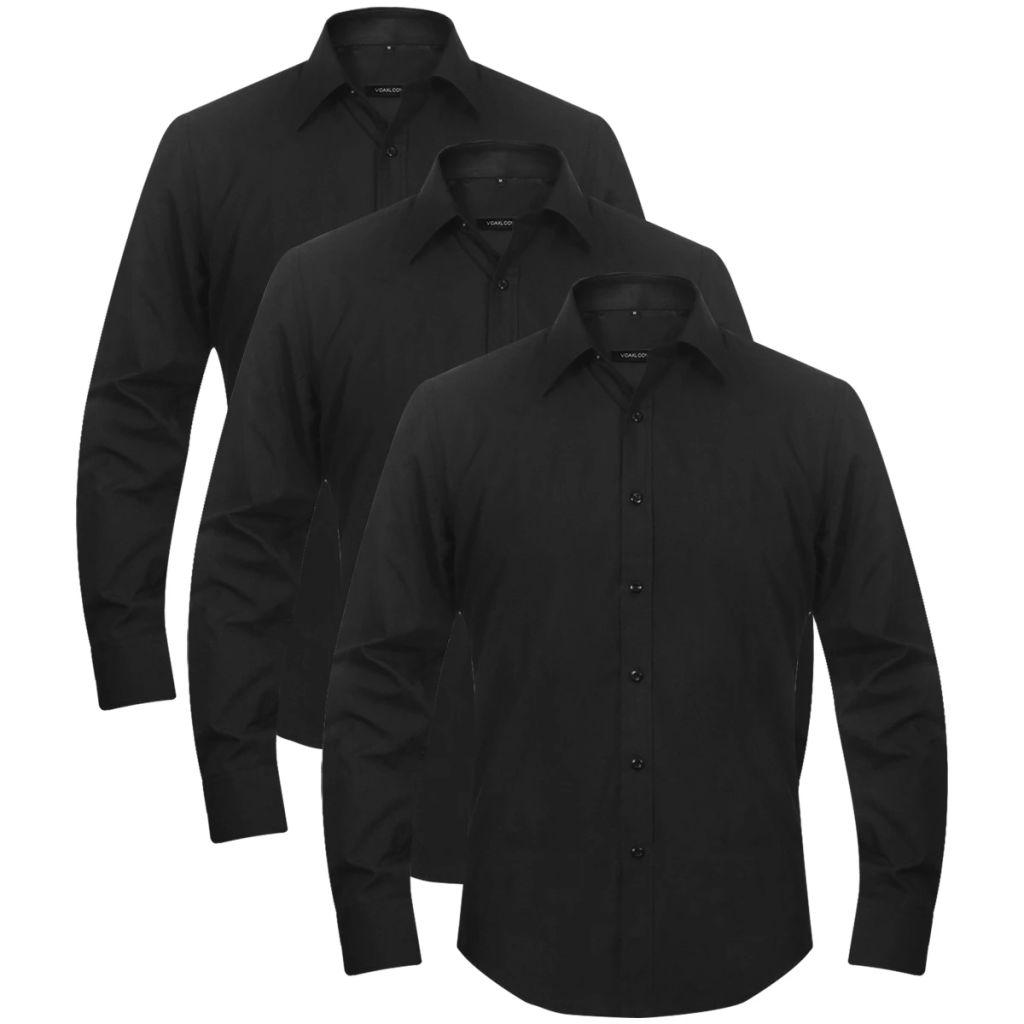 Pánske business košele, 3 ks, veľkosť M, čierna